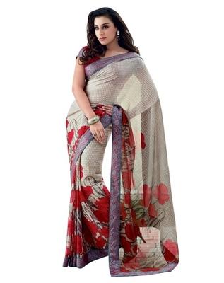 Triveni Latest Indian Designer Beautiful Foliage Patterned Printed Saree