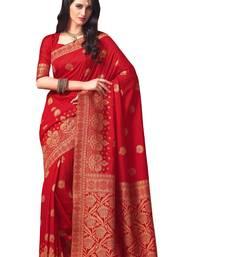 Buy red hand woven art silk saree With Blouse art-silk-saree online