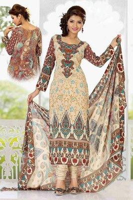 Cream Colour Georgette Printed Salwar Kameez