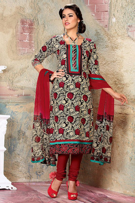 Beige and Maroon Cambric Cotton Salwar kameez with Chiffon Dupatta