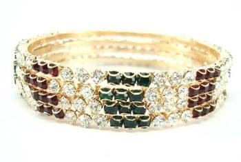 maroon green cz gold tone 4pc bangle me1254