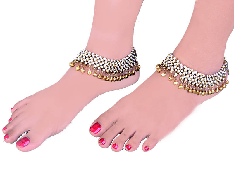 Buy Bollywood Style Traditional White Coloured Pair Of Gold Anklets Payal For Women Online