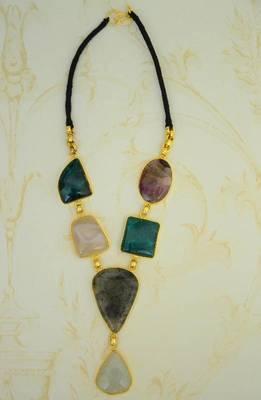 Warm Necklace:Stone and Metallic Neckpiece