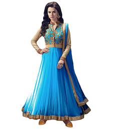 Buy Sky blue net embroidered semi stitched salwar with dupatta anarkali-salwar-kameez online