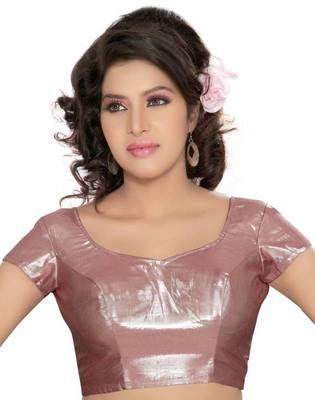 Pink Poly Silk Padded Stitched Blouse Choli