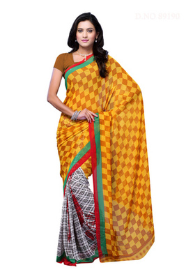 Fabdeal Yellow Colored Georgette Printed Saree