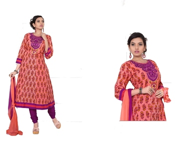 NeelFab Orange-Purple Cotton Anarkali Suit