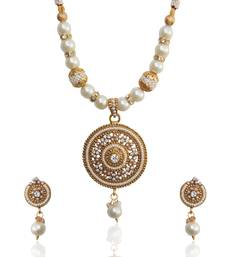 Buy Ethnic Indian Jewelry Bollywood Circle Pearl Polki Glowing Necklace Set tds d8 jewellery-below-500 online
