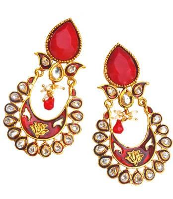 Maayra Red Bollywood Ethnic Wedding Festival Drop Earrings