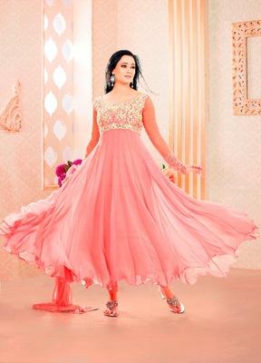 NeelFab Baby Pink Semistitched Anarkali Suit