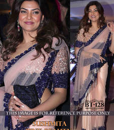 Buy Cream embroidered net saree with blouse other-actress-saree online