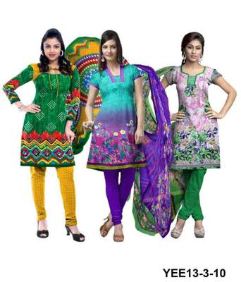 Riti Riwaz green-blue-white printed dress material with dupatta YEE13-3-10