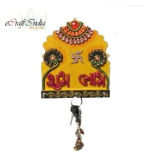 eCraftIndia Papier-Mache Shubh-Labh Key Holder
