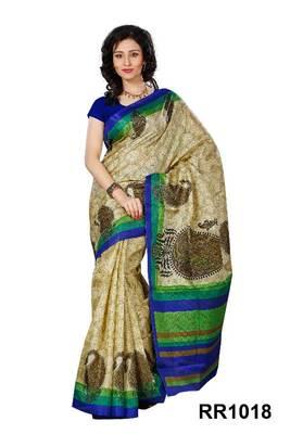 Riti Riwaz beige art silk saree with unstitched blouse RR1018