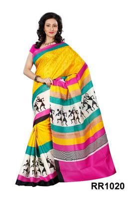 Riti Riwaz yellow art silk saree with unstitched blouse RR1020