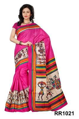 Riti Riwaz pink art silk saree with unstitched blouse RR1021