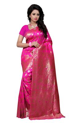 Pink printed banarasi saree with blouse