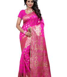 Buy Pink printed banarasi saree with blouse banarasi-saree online