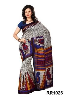 Riti Riwaz grey-blue art silk saree with unstitched blouse RR1026
