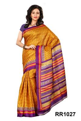 Riti Riwaz orange art silk saree with unstitched blouse RR1027