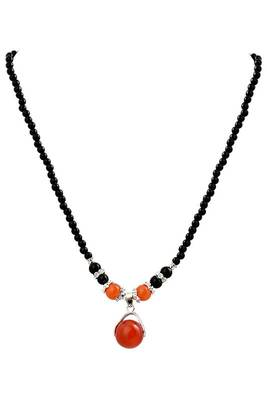 Just Women Genuine Carnelian Studded Beaded Necklace