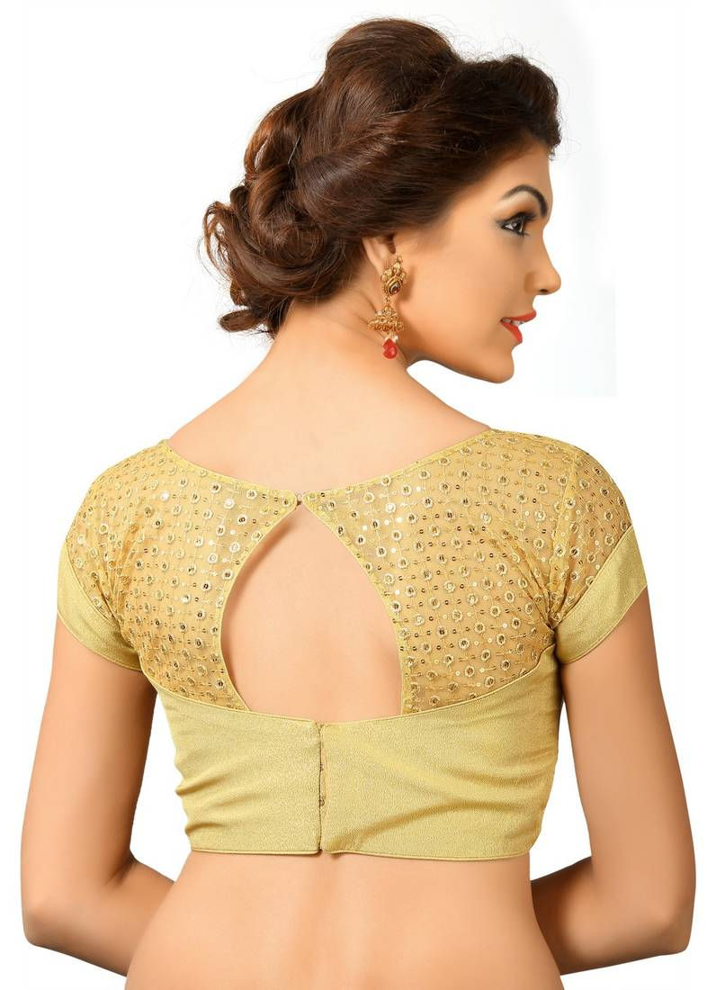 Buy Gold Tissue Embrodiered Stitched Blouse Online