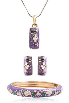 Just Women Set of 4 Hand Painted Inlay Jewelry Set