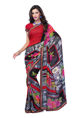 Fabdeal Red Colored Faux Georgette Printed Saree