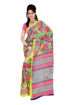 Fabdeal Peach Colored Georgette Printed Saree