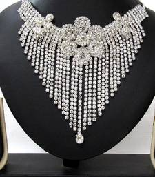 Buy White Stone Party Wear Necklace Set diwali-jewellery online