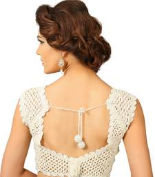 Buy White crochet cut work ready made blouse readymade-blouse online