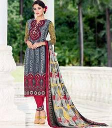 Buy Grey printed satin cotton unstitched salwar with dupatta salwars-and-churidar online