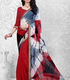 Buy Red embroidered nazneen saree with blouse below-1500 online