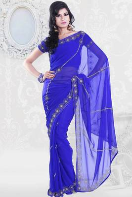 Persian Blue Chiffon Georgette Embroidered Party and Festival Saree