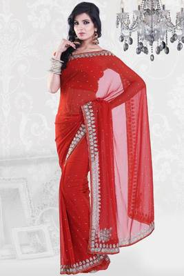 Venetian Red Faux Georgette Embroidered Party and Festival Saree