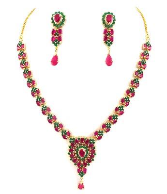Ruby Emerald Elegant Necklace Set