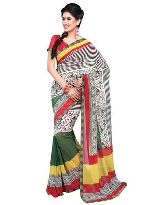 Triveni Striking Colorful Printed Faux Georgette Indian Designer Saree TSVF9830