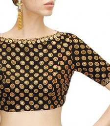 Buy Black rawsilk embroidery readymade blouse readymade-blouse online