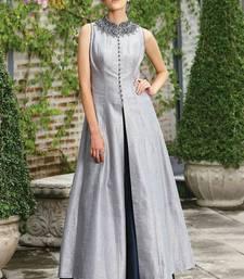 Buy Grey art silk plain semi stitched salwar anarkali-salwar-kameez online