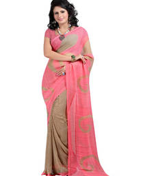 Buy Beige printed georgette saree with blouse printed-saree online