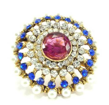 pink blue kundan pearl adjustable finger ring fr30