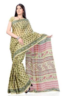 Pistachio Green Block Print Cotton Sari