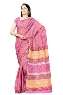 Amaranth Pink Hand Block Print Cotton Sari