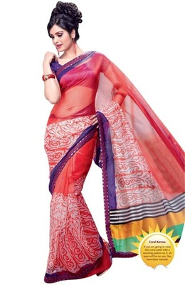 Triveni Fashionable Bright Colored Supernet Indian Designer Saree TSVF9714