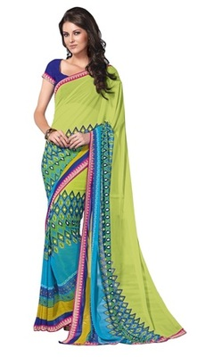 Triveni Adorable Sleek Bordered Faux Georgette Indian Ethnic Designed Saree TSVF9922