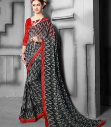 Buy Black woven faux georgette saree with blouse chanderi-saree online