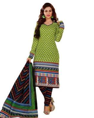 Salwar Studio Green & Black Cotton unstitched churidar kameez with dupatta KO-4517