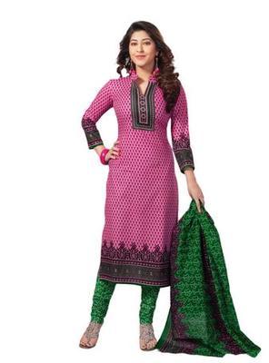Salwar Studio Pink & Green Cotton unstitched churidar kameez with dupatta S-407