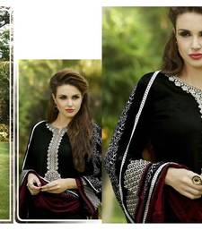 Buy Black georgette embroidered semi stitched salwar with dupatta salwars-and-churidar online