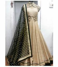 Buy Beige art silk embroidered semi stitiched salwar with dupatta black-friday-deal-sale online